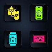 Set Laptop With Smart House And Alarm, Smart Home With Wi-fi, Smart Watch With Smart House And Light poster