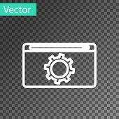 White Line Setting Icon Isolated On Transparent Background. Adjusting, Service, Maintenance, Repair, poster