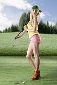 picture of ladies golf  - pretty blonde girl - JPG