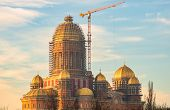 Peoples Salvation Cathedral (catedrala Mantuirii Neamului) Construction Site. Christian Orthodox Ca poster