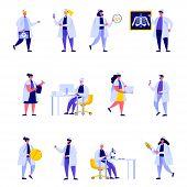 Set Of Flat People Medical Hospital Staff Characters. Bundle Cartoon People Doctor Nurse Surgeon Pha poster