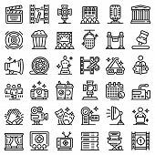 Art Director Icons Set. Outline Set Of Art Director Vector Icons For Web Design Isolated On White Ba poster