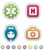 image of first aid  - 4 icons in  - JPG