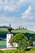 church in Zehra and Spissky Castle at background, Slovakia
