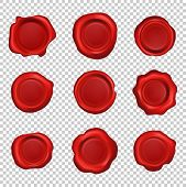Old Realistic Stamp Wax Seal. Set Of Red Sealing Wax Vintage Stamps Labels. Vector Illustration On T poster