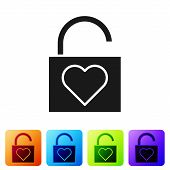Black Lock And Heart Icon Isolated On White Background. Locked Heart. Love Symbol And Keyhole Sign.  poster
