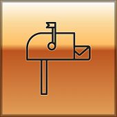 Black Line Open Mail Box Icon Isolated On Gold Background. Mailbox Icon. Mail Postbox On Pole With F poster