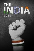 the India 2020 Republic Day - 26 January, India National Flag On A Wrist Of Male Clenched Fist. St poster