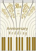 Fiftieth Wedding Anniversary Card For Greeting And Writing Text With Decor Elements On The Piano Key poster