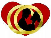 Vector Illustration With Rings And Couple. Wife And Husband With Heart And Wedding Rings. Icon Or Gr poster