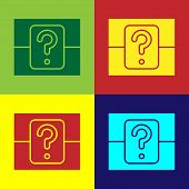 Color Mystery Box Or Random Loot Box For Games Icon Isolated On Color Background. Question Box. Vect poster