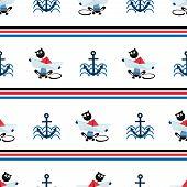 Marine Background. Cat Sailor poster