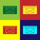 Color Mail And E-mail Icon Isolated On Color Background. Envelope Symbol E-mail. Email Message Sign. poster