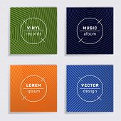 Linear Vinyl Records Music Album Covers Set. Halftone Lines Backgrounds. Colorful Creative Vinyl Mus poster