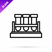 Black Line Test Tube And Flask Chemical Laboratory Test Icon Isolated On White Background. Laborator poster