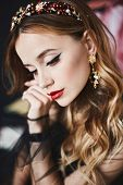 Close Up Portrait Of Elegant Luxurious Woman With Perfect Makeup And Expensive Trendy Gold Jewelry.  poster