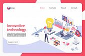 Innovative Technology Isometric Landing Page Vector Template. Male Programmers Faceless Characters.  poster