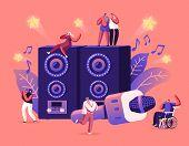 Happy Friends Having Fun Singing At Karaoke Bar Or Night Club. Tiny People Near Huge Dynamics And Mi poster