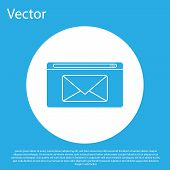 Blue Mail And E-mail Icon Isolated On Blue Background. Envelope Symbol E-mail. Email Message Sign. W poster