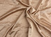 Beige Satin Textile Fabric, Piece Of Canvas For Sewing Curtains And Things, Full Frame. Crumpled Tex poster