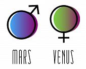 Planet Gender Symbol, Sign. Symbol Illustration Of Astrology Planet. Zodiac, Gender, Astrology Sign. poster
