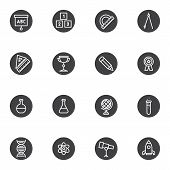 Education Vector Icons Set, Science Modern Solid Symbol Collection, Filled Style Pictogram Pack. Sig poster