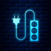 Glowing Neon Electric Extension Cord Icon Isolated On Brick Wall Background. Power Plug Socket. Vect poster