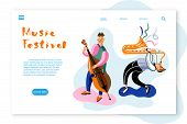 Music Festival Landing Page Template. Musicians Flat Vector Characters Set. Band, Orchestra Performa poster