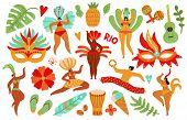 Brazilian Carnival. Latino Male Female, Brazil Costumes. Guitar, Dance Lady And Mask. Show Or Samba  poster