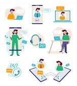 Support Online. Virtual Assistant Person Talking With Technical Agents Helpful Manager Business Supp poster
