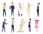 Sea Cruise. Sailing Captain Shipping Officer Navigating Crew Ocean Travel Team Vector Characters. Il poster