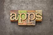 apps (applications) - software  concept - text in vintage letterpress wood type against grunge metal surface