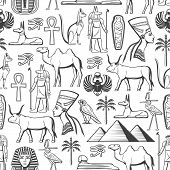 Ancient Egypt Monochrome Seamless Pattern. Vector Egyptian Culture, Travel, History And Religion Sig poster