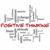 stock photo of pma  - Positive Thinking Word Cloud Concept in red capital letters with great terms such as good mental thought life optimism and more - JPG