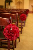 stock photo of quinceanera  - wooden folding Chairs lined up for a wedding - JPG