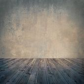 Vintage, grungy, romantic interior with aged wood floor