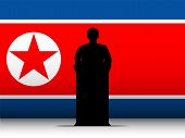 North Korea War Speech Tribune Silhouette With Flag Background