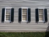 Three Windows With Black Shutters