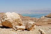 Desert landscape near the Dead Sea at bright noon