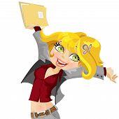 Cute girl joyfully swings the folder with papers
