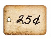 foto of grommets  - A grungy 25 cent tag with a metal grommet isolated against a white background - JPG