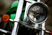stock photo of headlight  - Detail on the headlight of a classic motorcycle - JPG