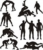 stock photo of wrestling  - freestyle wrestling and greco - JPG