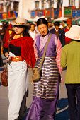 Well-dressed Tibetan Women Barkhor Walking