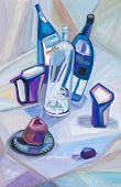 Abstract Still Life With Dark Blue Bottles
