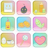 Collectie van pictogrammen op kleurrijke knoppen.