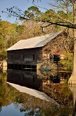 Old grist mill and covered bridge