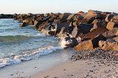 image of stein  - Brandung an der Ostsee Wellen Steine Strand - JPG