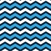Abstract geometric chevron seamless pattern in blue and white, vector