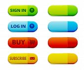 Set of colorful log in signu in and subscription buttons